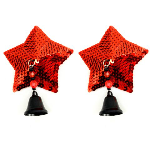 Bijoux Nipple Covers Sequin Star w/Bells Red
