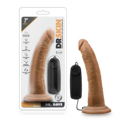 Dr. Skin Dr. Dave 7in Mocha Vibrating Cock w/ Suction Cup