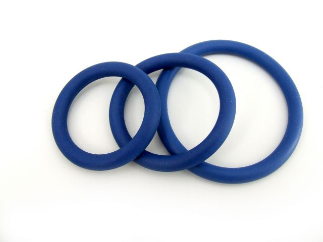 Fresh Cock Ring Nitrile 3pc Set Dark Blue