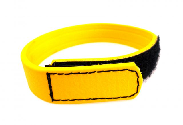 C Ring Biothane Velcro Yellow