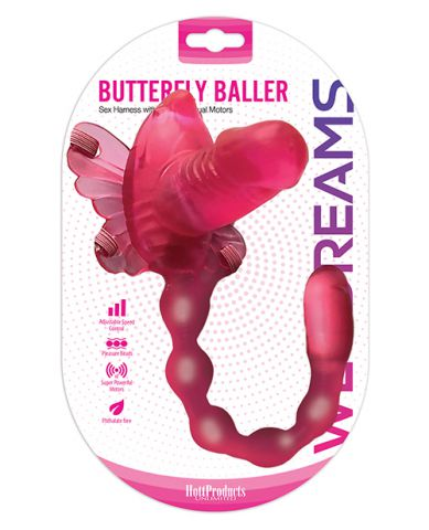 Wet Dreams Butterfly Baller Sex Harness w/ Dildo & Dual Motors