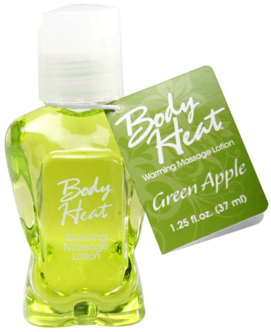 Body Heat Warming Massage Lotion 1.25 Oz Green Apple