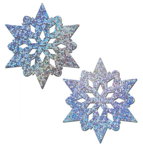 Silver Glitter Snowflakes Nipple Pasties