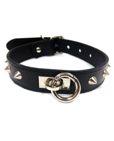 Leather O Ring Studded Collar Black